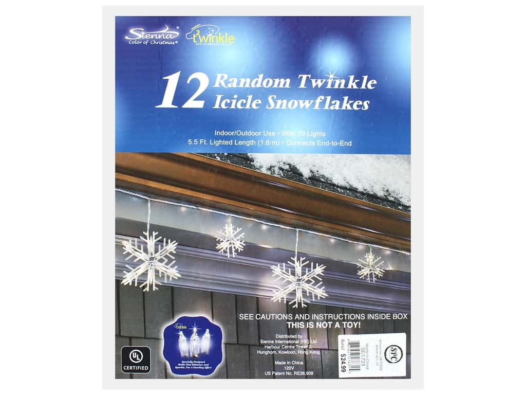 Sierra Pacific Crafts Lights Random Twinkle Icicle/Snowflake Clear 12 pc