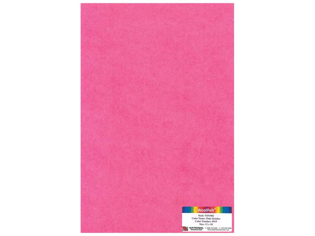 "National Nonwovens Wool Felt 12""x 18"" 35% Pink October (10 pieces)"