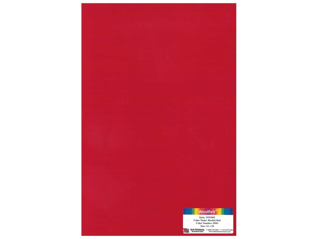 "National Nonwovens Wool Felt 35% 12""x 18"" Rocking Red (10 pieces)"