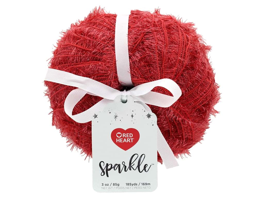 Coats & Clark Red Heart Sparkle Yarn 3 oz Berry Red