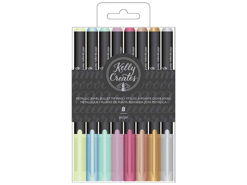 American Crafts Collection Kelly Creates Bullet Tip Pens Jewel 8 pc