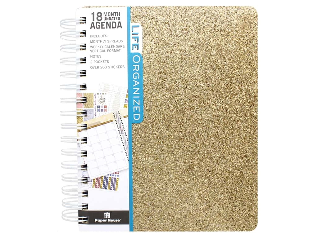 Paper House Collection Life Organized Planner 18 Month Gold Glitter