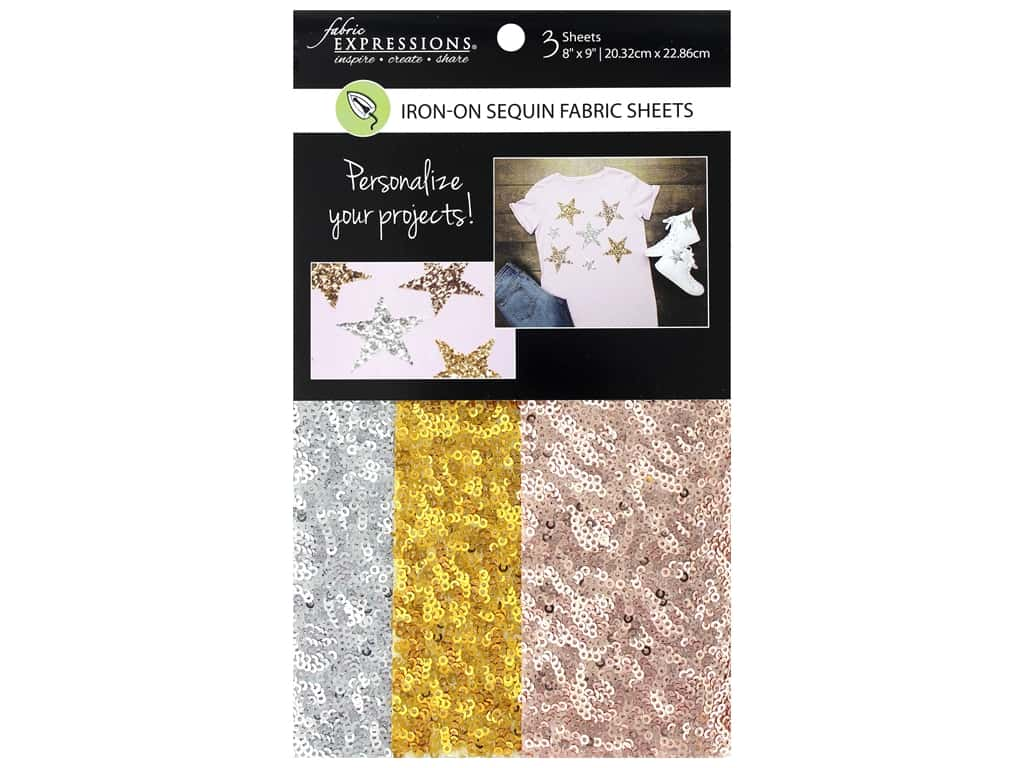 Fabric Expressions Iron On Sheet Sequin 3pc