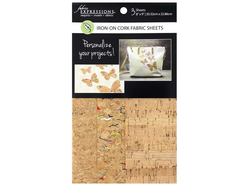 Fabric Expressions Iron On Sheet Cork 3pc