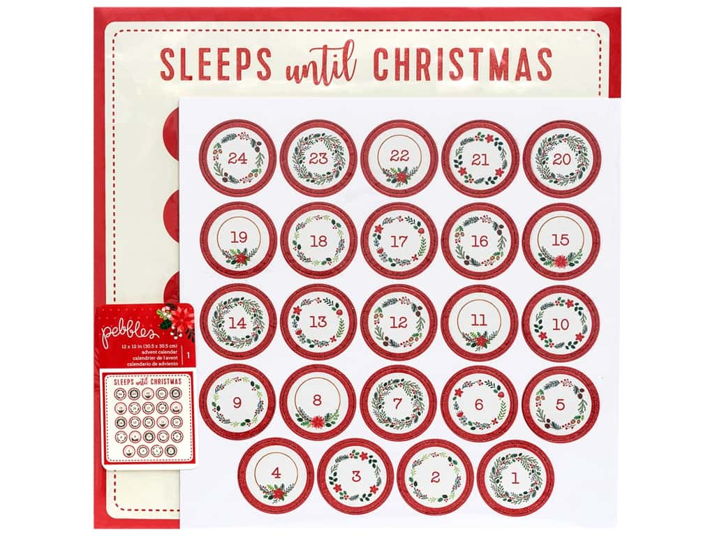Pebbles Cozy & Bright Collection Paper 12 in. x 12 in. Advent Calendar