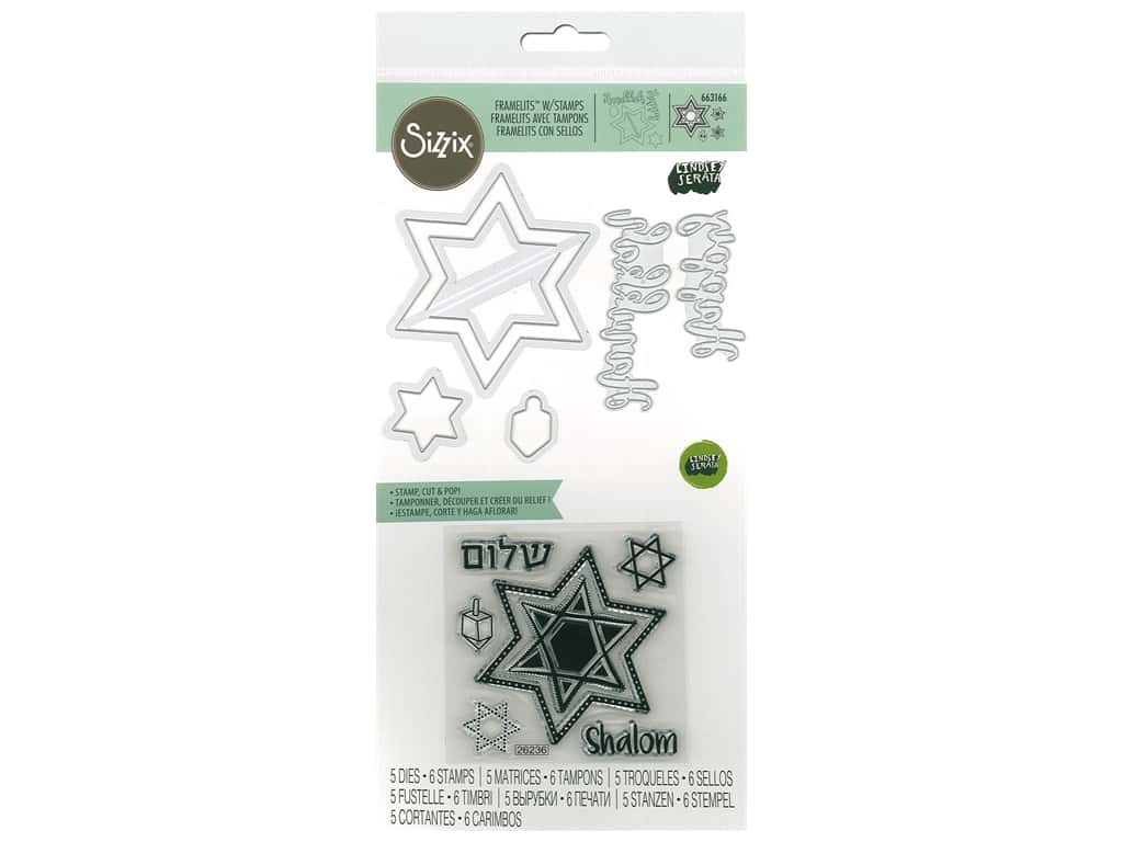 Sizzix Die & Stamp Lindsey Serata Framelits Die With Stamp Happy Hanukkah