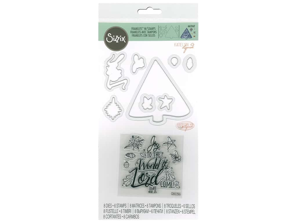 Sizzix Katelyn Lizardi Framelits Die & Stamp Set Christmas Tree, Joy To The World