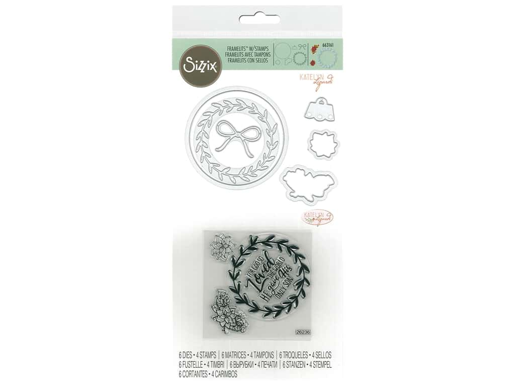 Sizzix Katelyn Lizardi Framelits Die & Stamp Set Wreath Ornament