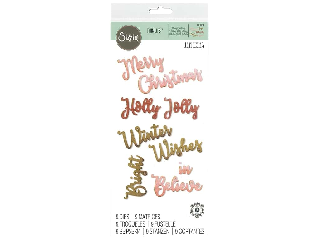 Sizzix Dies Jen Long Thinlits Christmas Phrases
