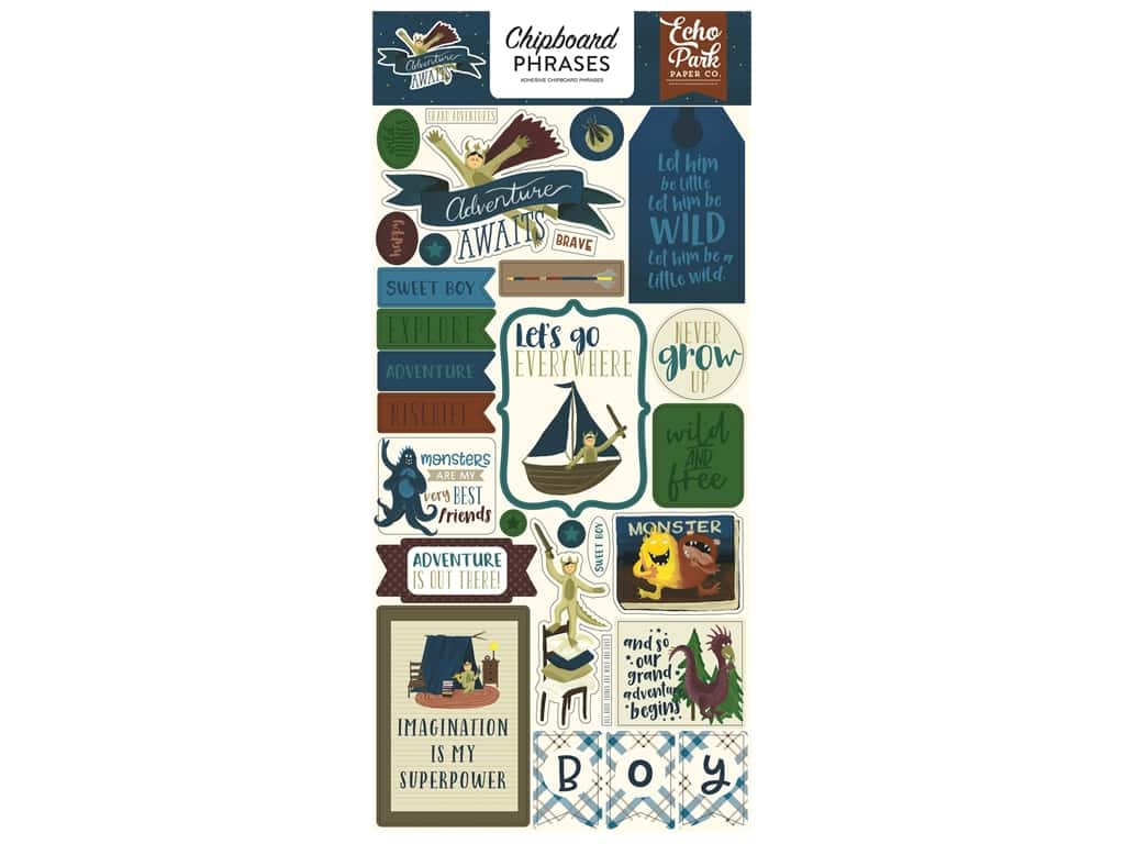 Echo Park Collection Adventure Awaits Chipboard 6 in. x 12 in. Phrases