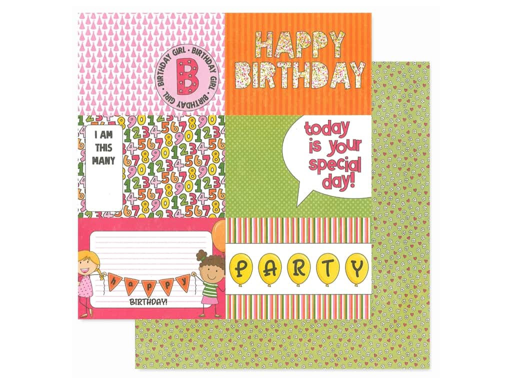 Photoplay Collection Birthday Wishes Girl Paper 12 in. x 12 in. Hip Hip Hooray (25 pieces)