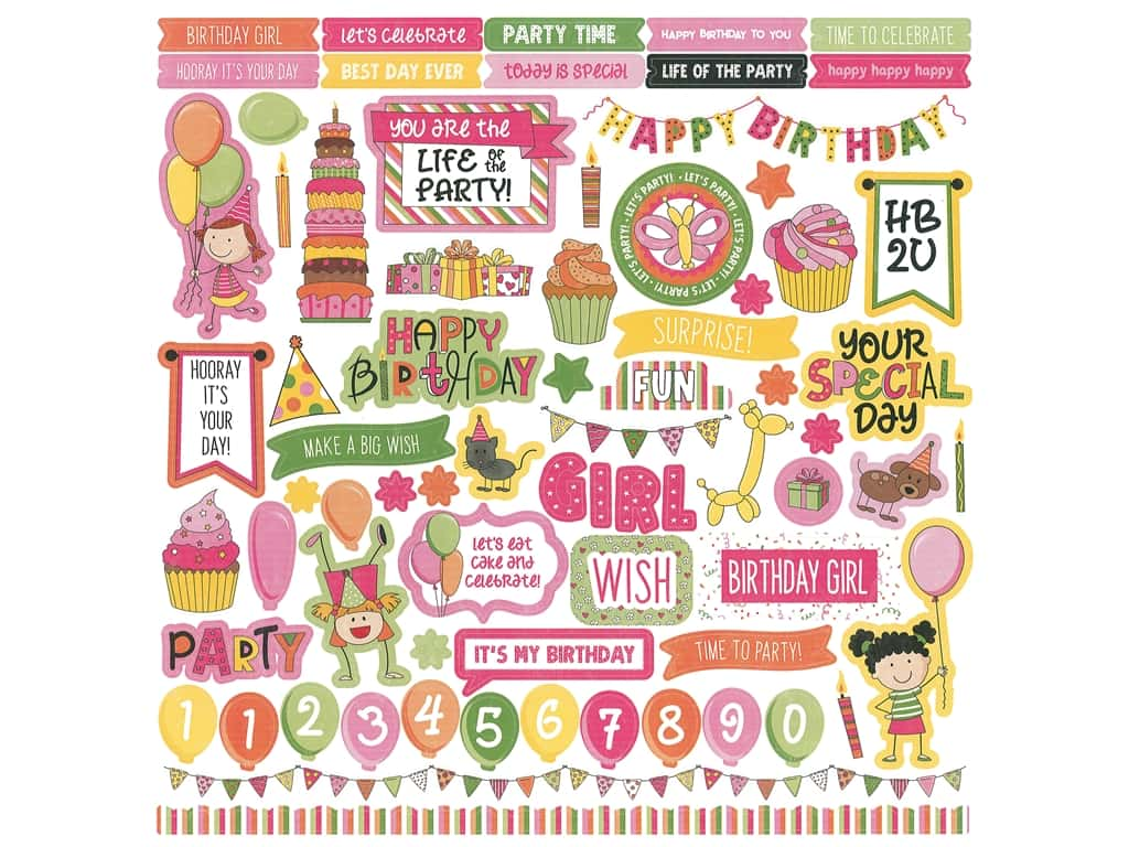 Photoplay Collection Birthday Wishes Girl Sticker Element 12 in. x 12 in. (12 sets)