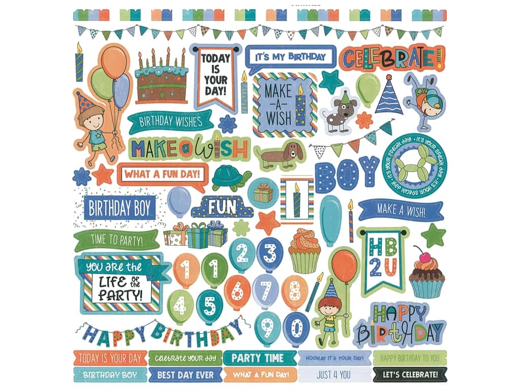 Photoplay Collection Birthday Wishes Boy Sticker Element 12 in. x 12 in. (12 sets)