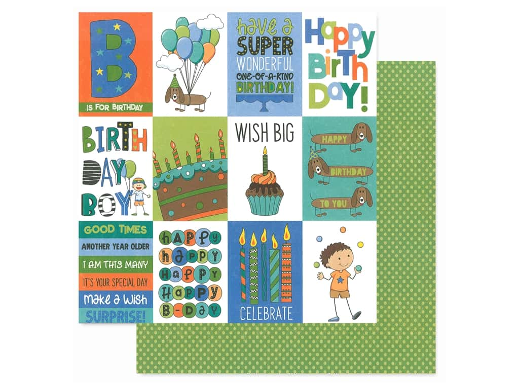 Photo Play 12 x 12 in. Paper Birthday Wishes Boy Wish Big (25 pieces)