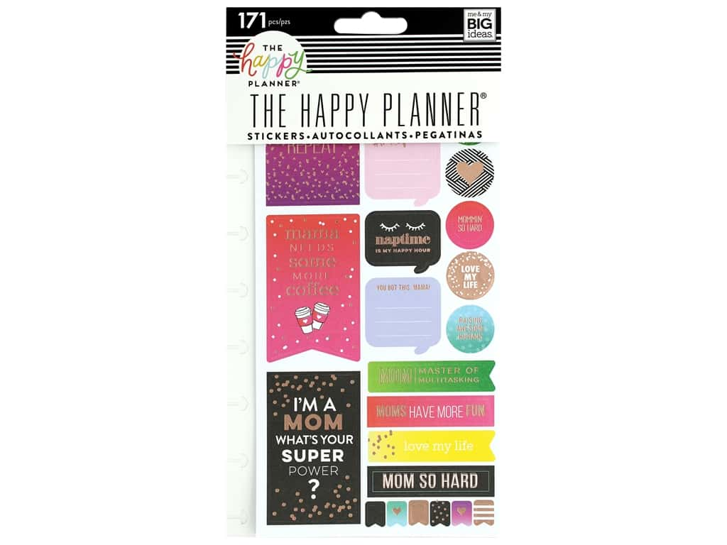Me&My Big Ideas Happy Planner Sticker Snap In Mom Boss