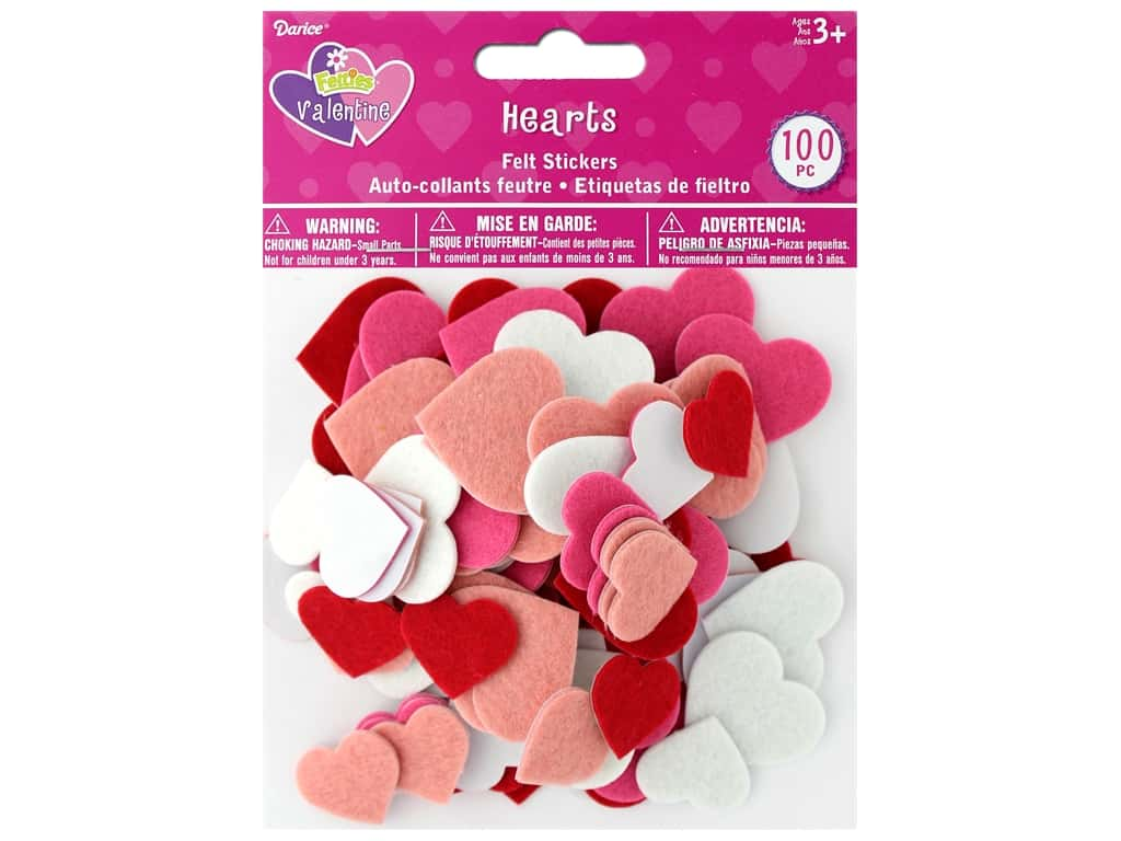 Darice Felties Sticker Hearts 100 pc