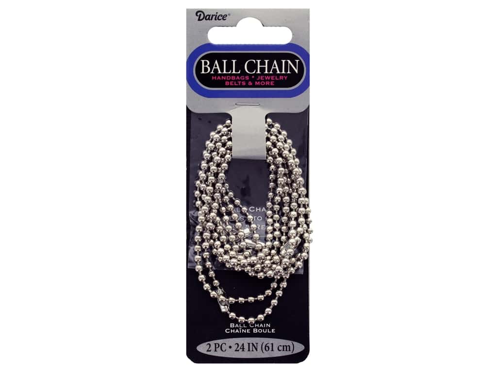 "Darice Findings Chain 24"" Ball 3.2 mm Silver 2 pc"