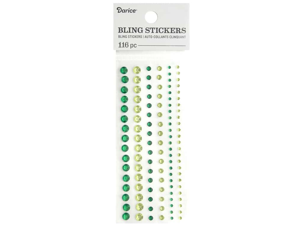Darice Bling Stickers Assorted Round 116 pc. Green