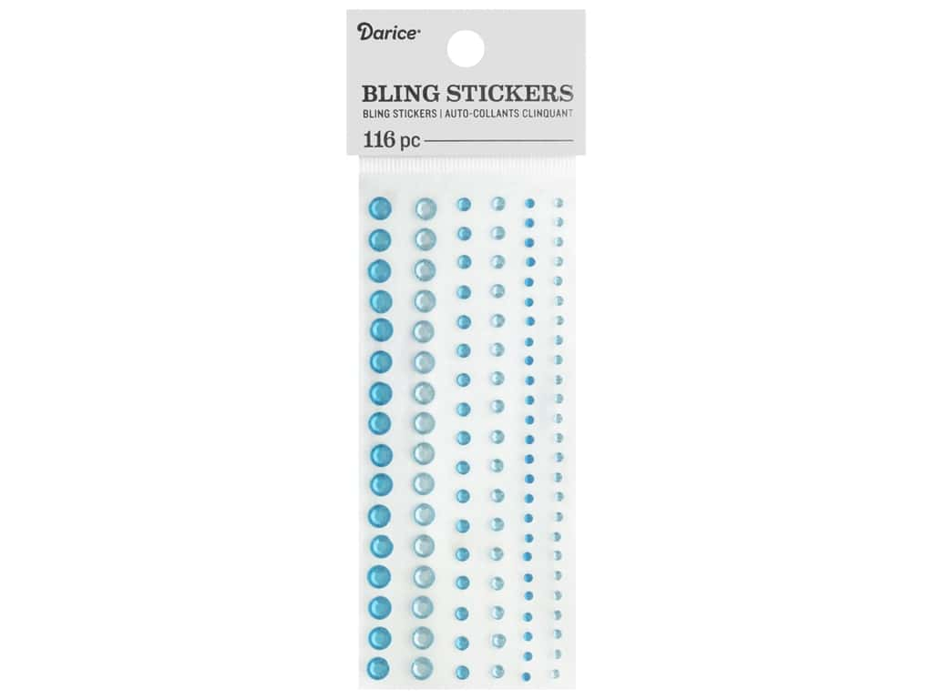 Darice Bling Stickers Assorted Round 116 pc. Turquoise