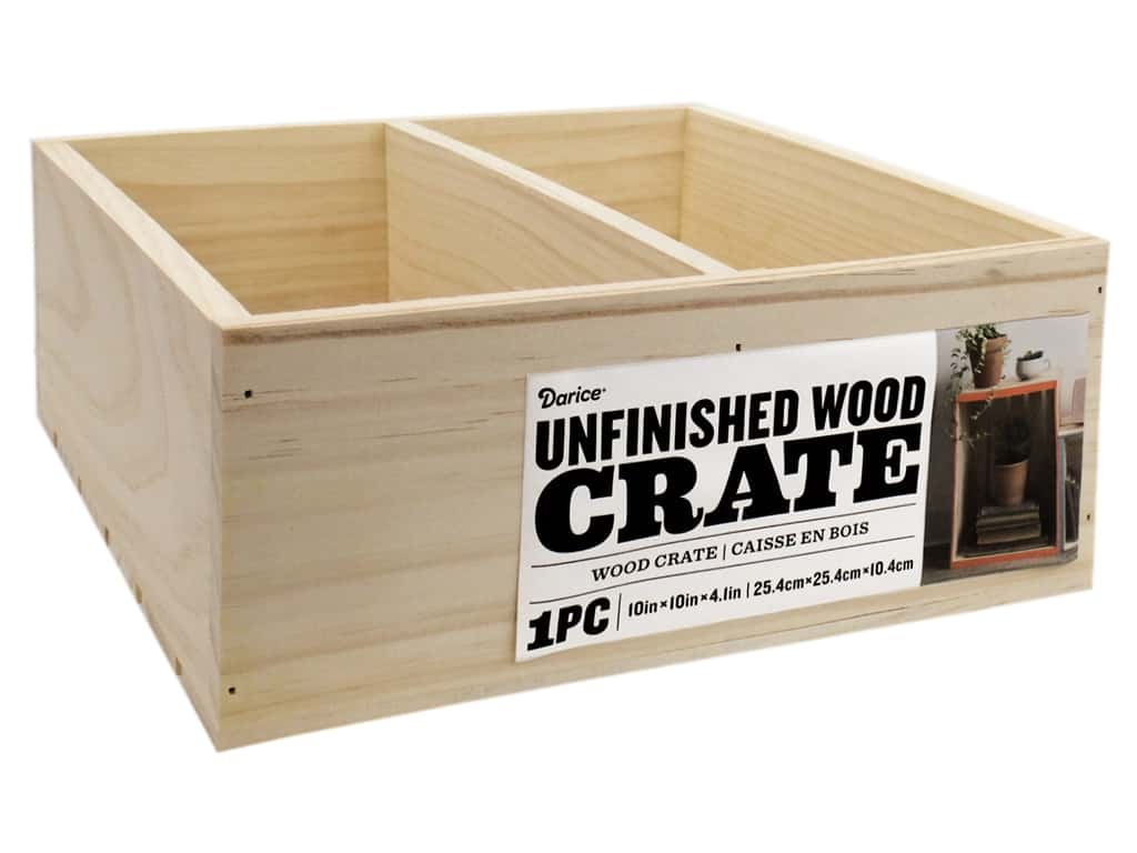 Darice Unfinished Wood Divided Crate 10 x 10 in.