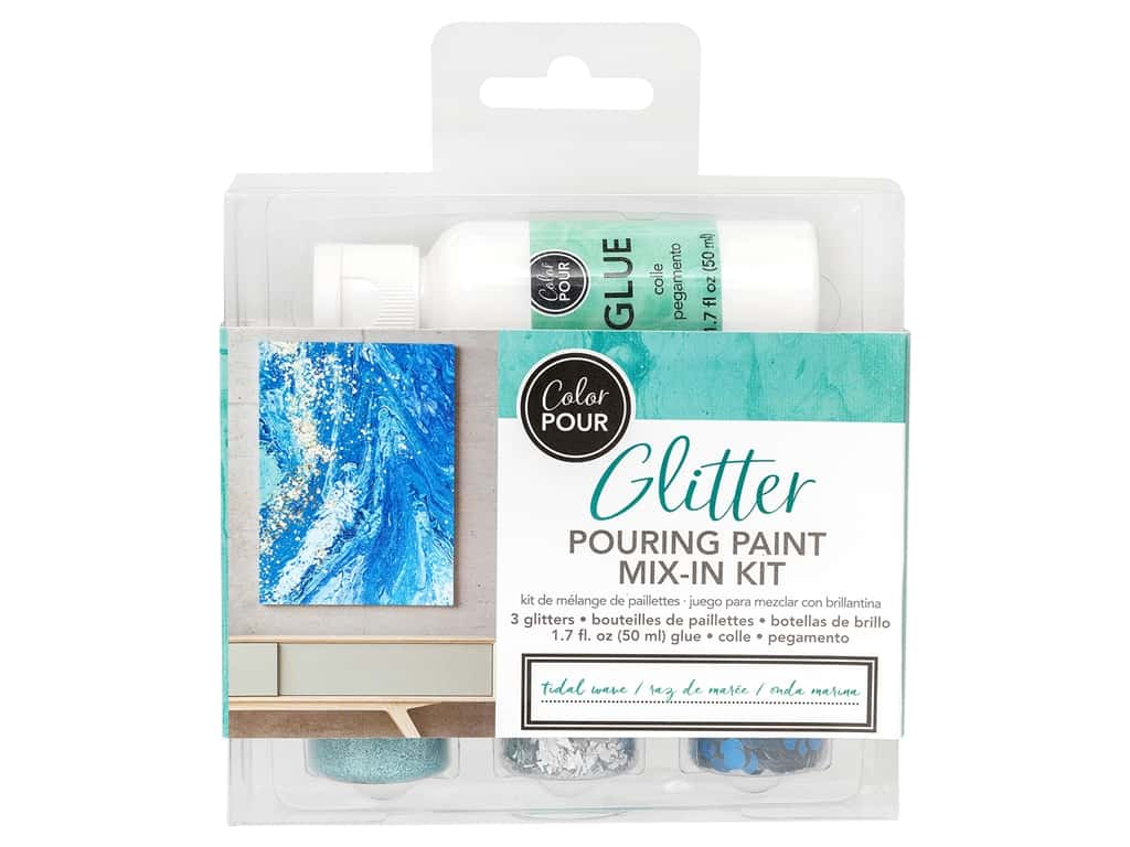 American Crafts Color Pour Glitter Mix In Kit - Tidal