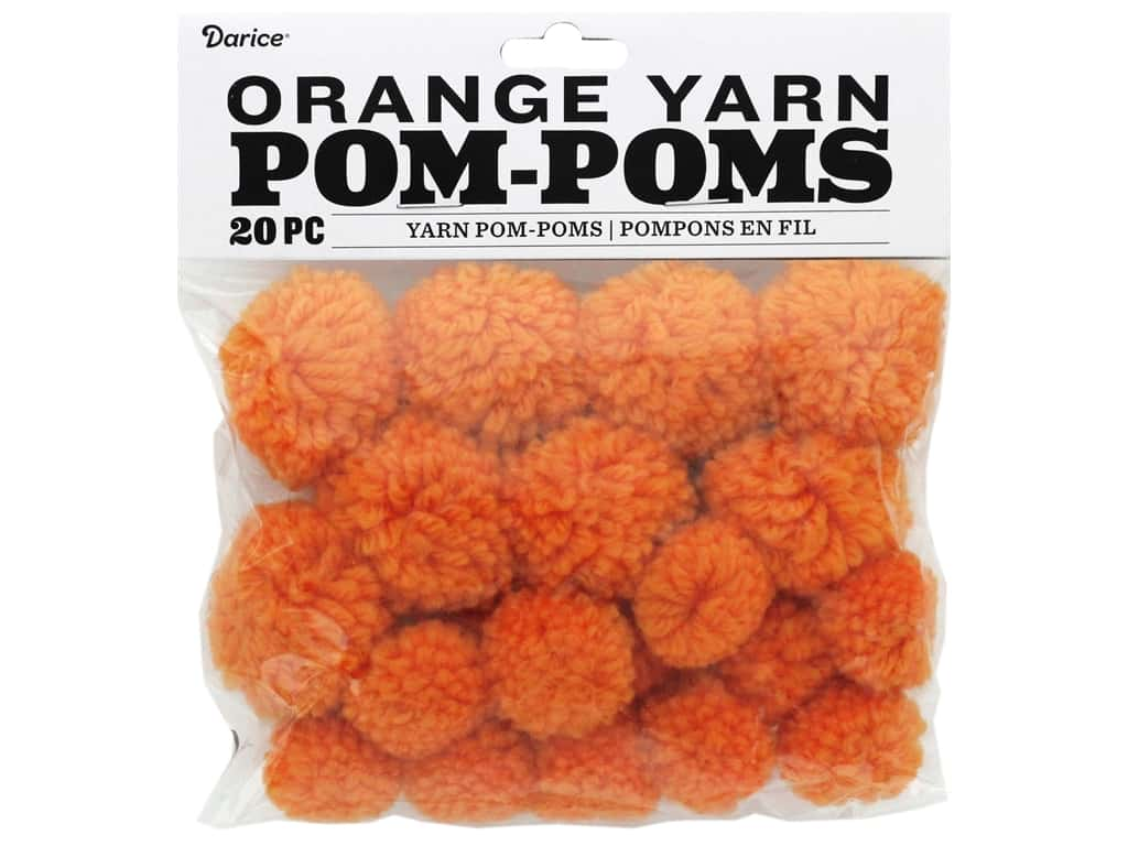 Darice Pom Poms Yarn 1 in. To 1.5 in. Orange 20 pc