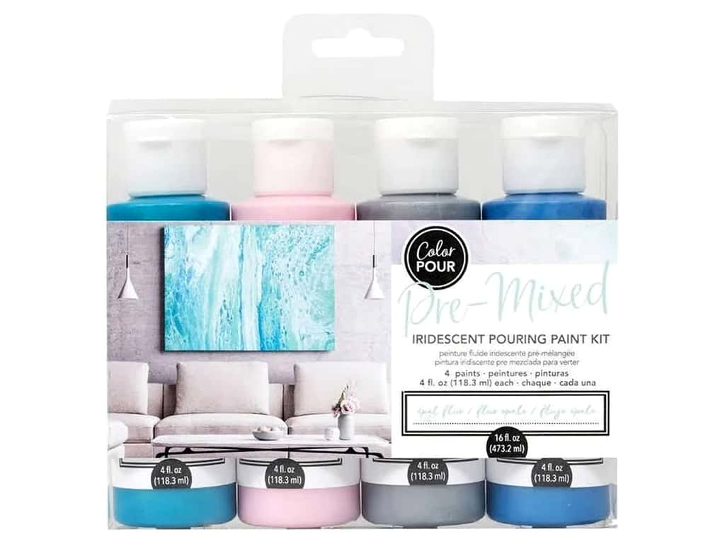 American Crafts Color Pour Pre Mixed Pouring Paint Kit - Opal Flux