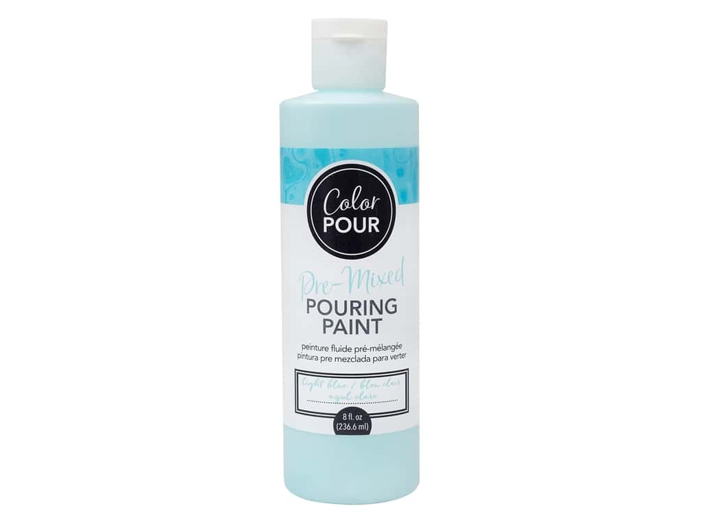 American Crafts Color Pour Pre-Mixed Pouring Paint 8 oz. Light Blue