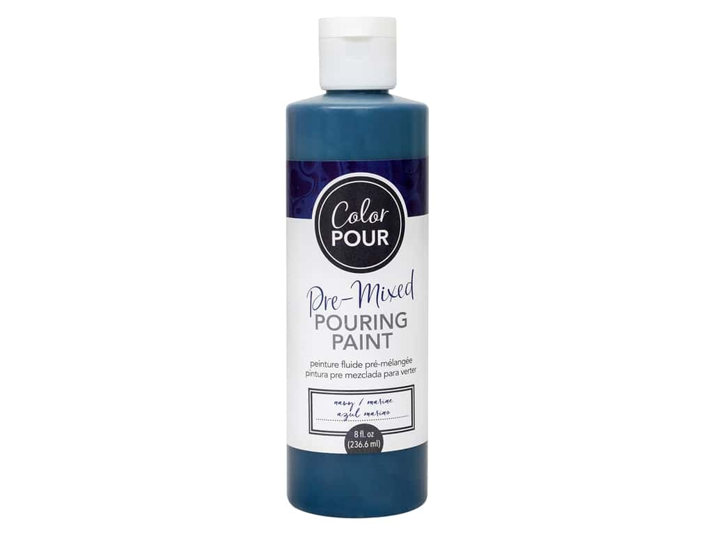 American Crafts Color Pour Pre-Mixed Pouring Paint - 8 oz. Navy