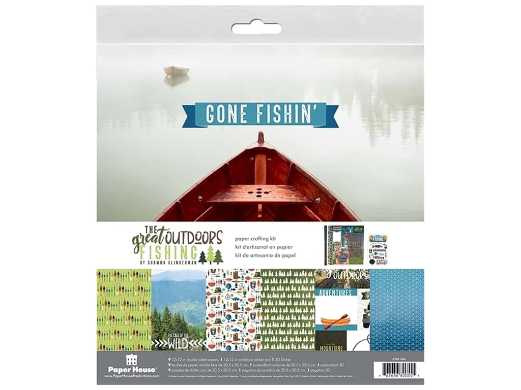 Paper House Paper Kit 12 in. x 12 in. Outdoors Fishing