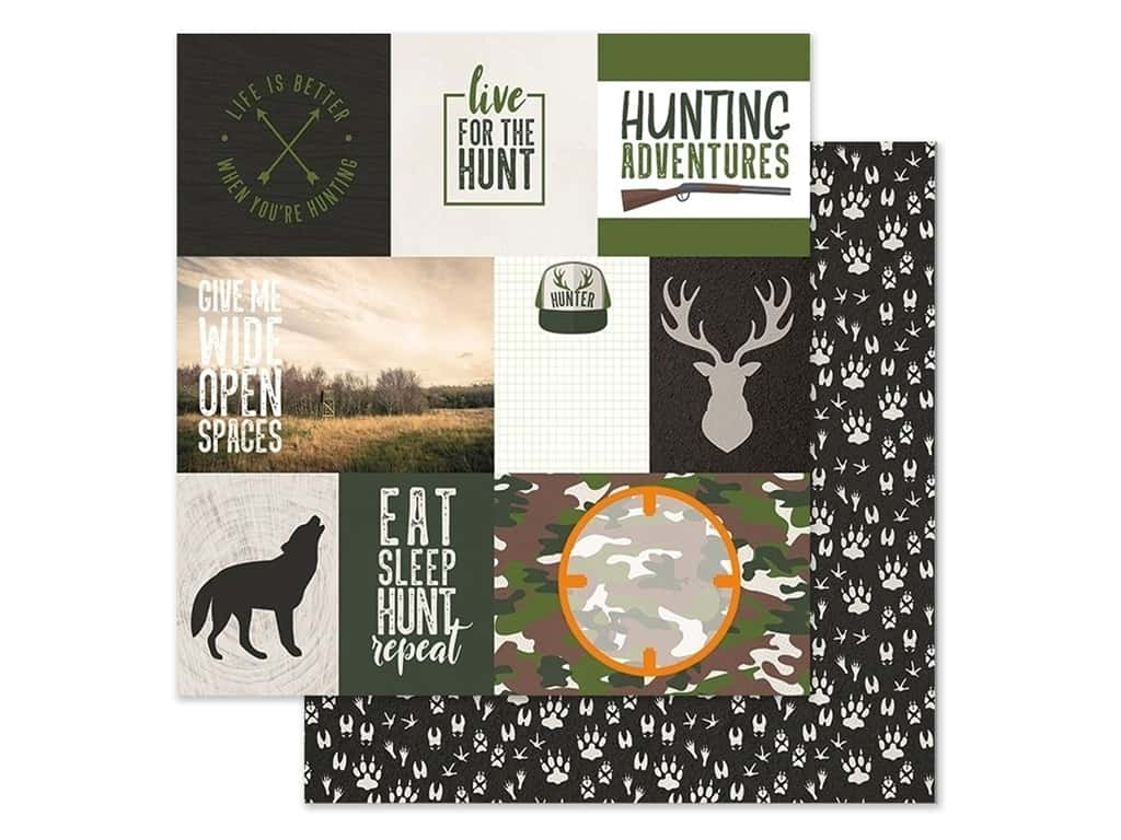 Paper House Paper 12 in. x 12 in. Tags Hunting (15 pieces)