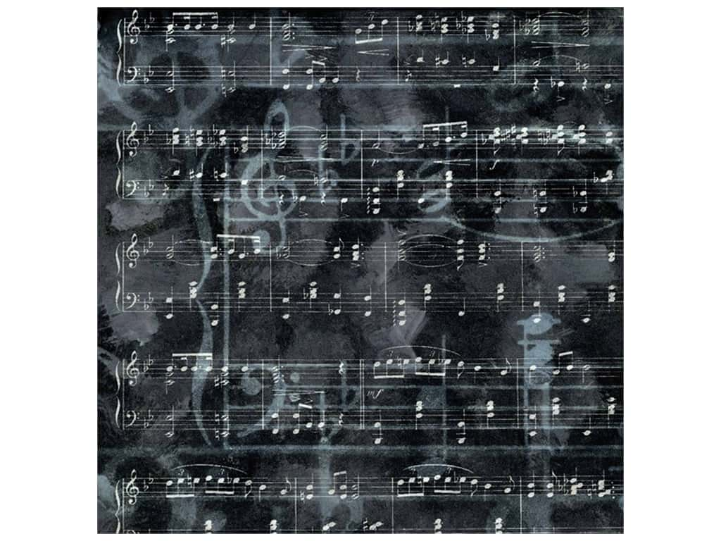 Paper House Paper 12 in. x 12 in. Charcoal Music (25 pieces)