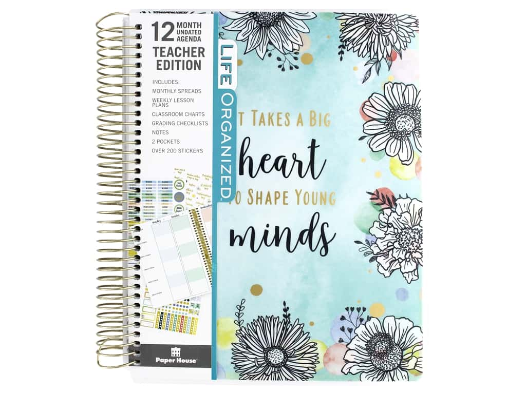 Paper House Collection Life Organized Planner 12 Month Teacher