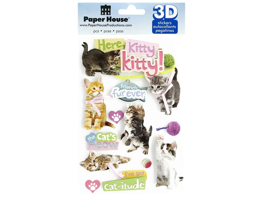 Paper House Sticker 3D Here Kitty Kitty