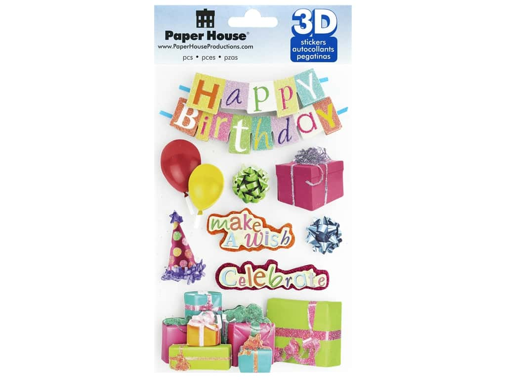 Paper House Sticker 3D Happy Birthday