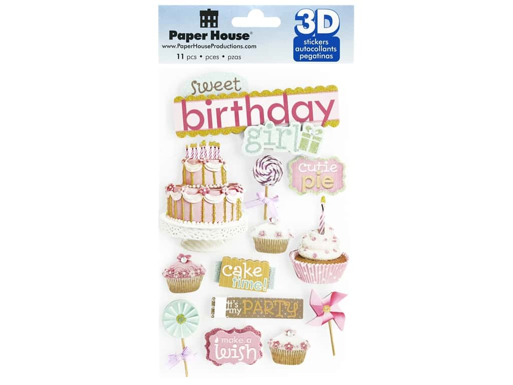 Paper House 3D Stickers - Sweet Birthday Girl