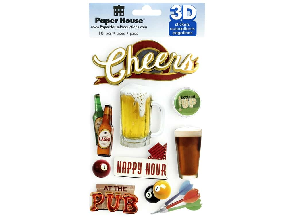 Paper House Sticker 3D Cheers