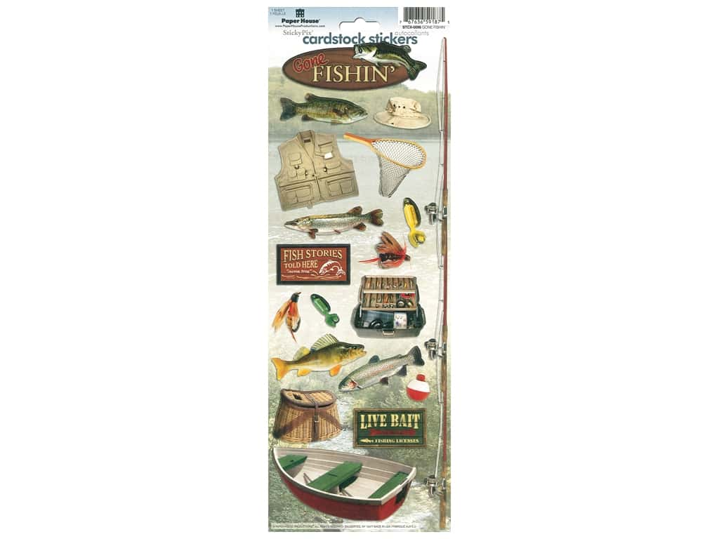 Paper House Sticker Cardstock Gone Fishin'