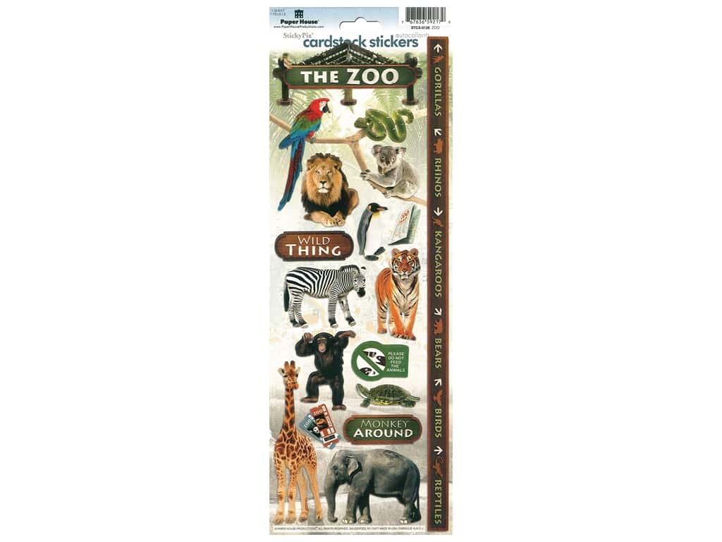 Paper House Sticker Cardstock Zoo