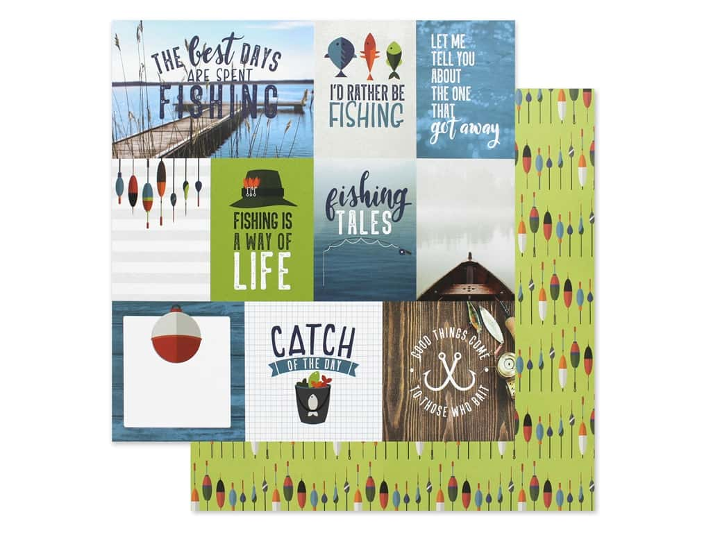 Paper House Paper 12 in. x 12 in. Tags Fishing (15 pieces)