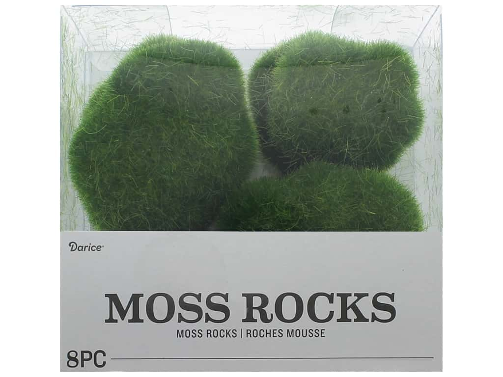 Darice Floral Faux Moss Rocks Green 8 pc