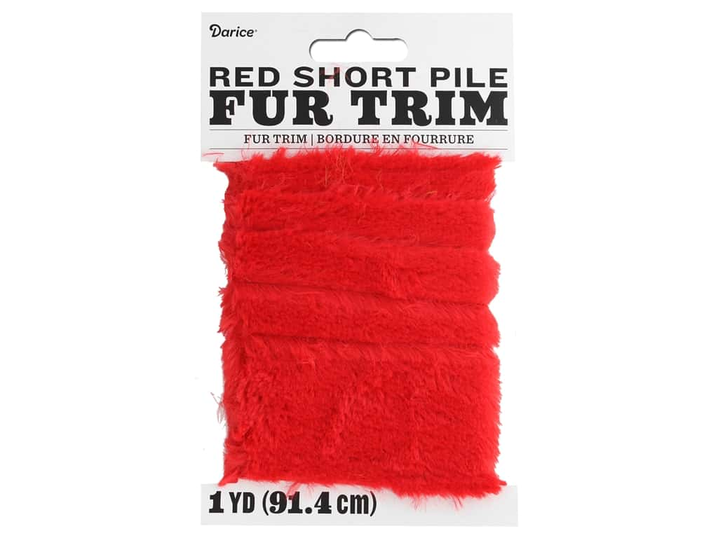 Darice Short Pile Fur Trim 2 in. x 1 yd. Red