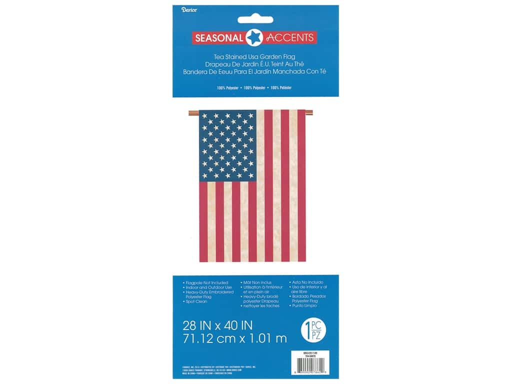 Darice Tea Stained USA Garden Flag 28 X 40 in.
