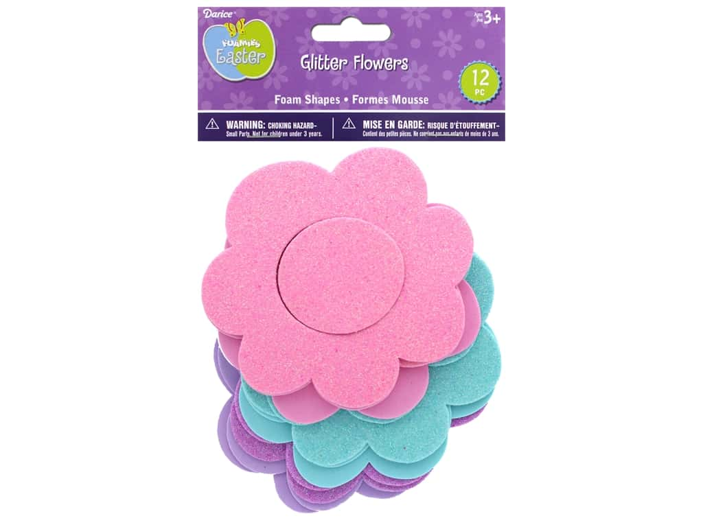 Darice Foamies Base Glitter Flower 12 pc