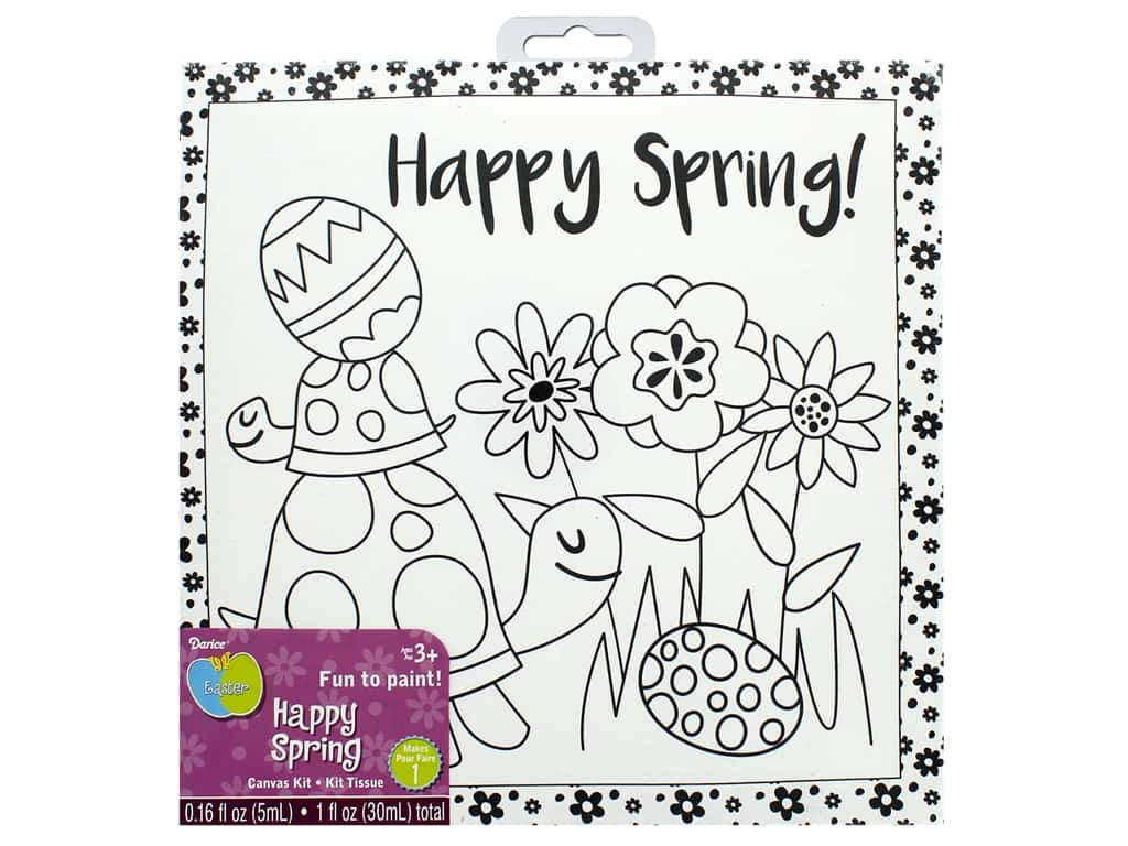 Darice Canvas Kit 8 x 8 in. Happy Spring