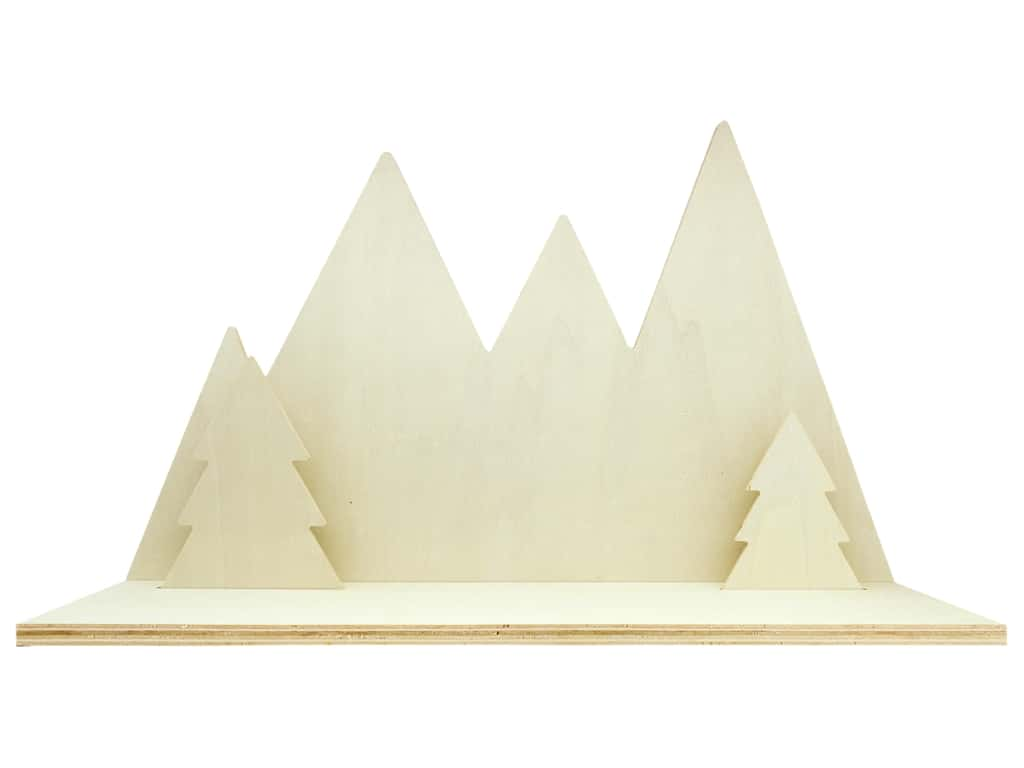 Darice Wood Shelf 18 in. Die Cut Mountains