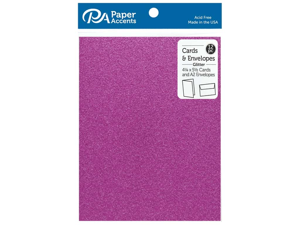 Paper Accents 4 1/4 x 5 1/2 in. Blank Card & Envelopes 12 pc. Glitter Purple