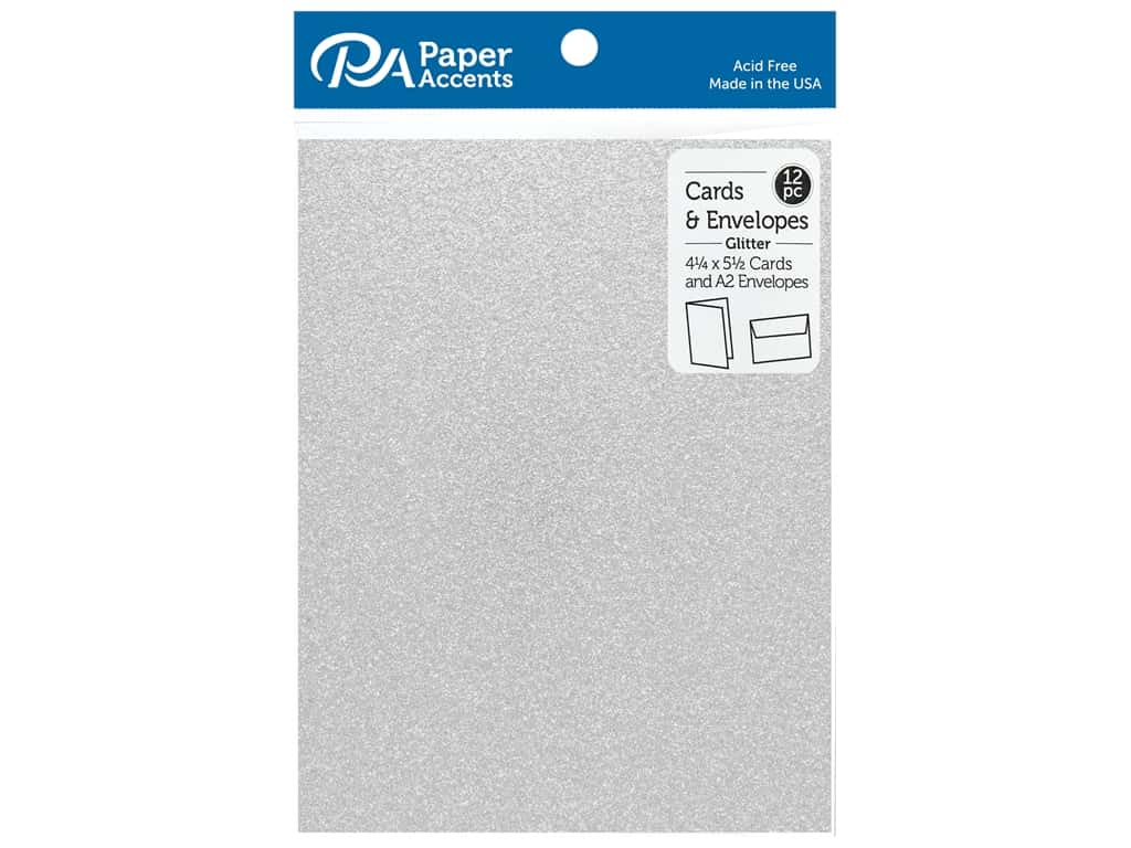 Paper Accents 4 1/4 x 5 1/2 in. Blank Card & Envelopes 12 pc. Glitter Silver