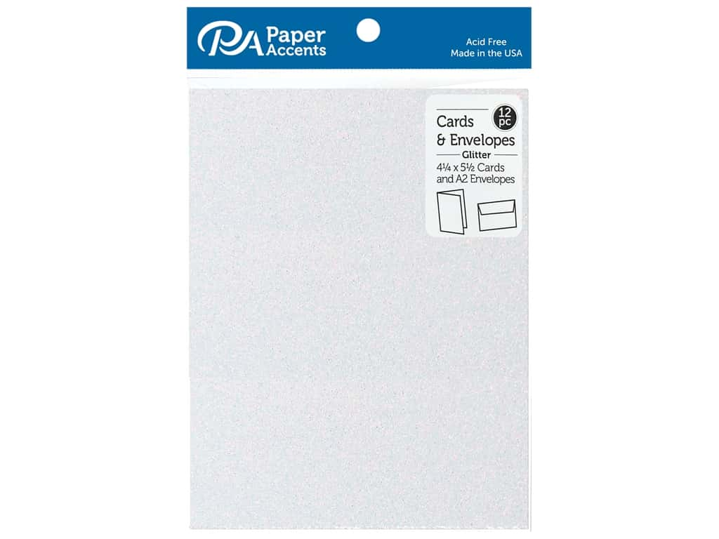 Paper Accents 4 1/4 x 5 1/2 in. Blank Card & Envelopes 12 pc. Glitter Iridescent White