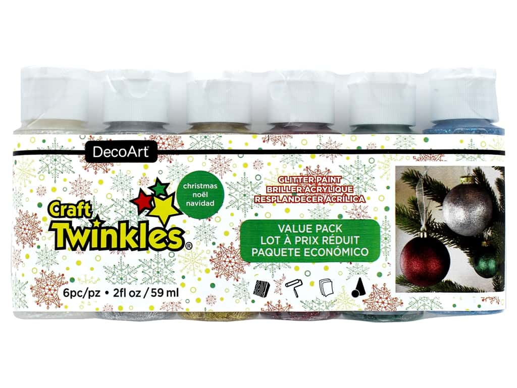 DecoArt Craft Twinkles Paint - Value Pack Christmas 6 pc.